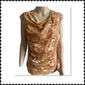 Relativity Orange White Floral Sleevless Cowl Neck